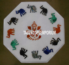 """12"""" White Marble Table Top Stone Elephant Inlay Marquetry Art Kitchen Decorative"""