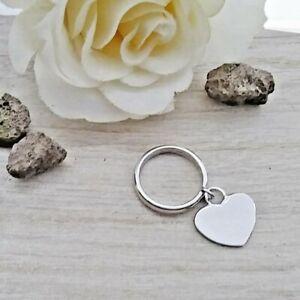 Anello cuore pendente in argento 925 con incisione