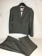Anne Klein Size 4 Business Casual Dark Gray Pinstripe Wool Blend Pant Suit 4