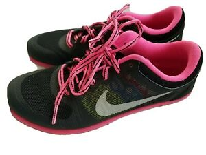 Nike Girls Running Shoes 5Y Black Pink Flex Run Youth