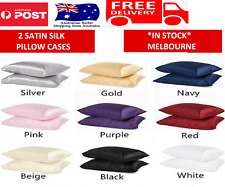 2in1 Silk Satin Pillow Case Cover Solid Standard Bedding Smooth Soft Pillowcase