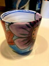 "Damariscotta Pottery 4.5"" tall Hand Colored Mug 2004 Rare No Handle Floral NICE!"