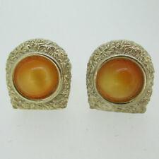 Swank Gold Tone Gold Orange Gold Stone Cufflinks