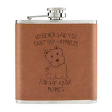 Whoever Said You Can'T Kaufen Happiness Welpen 170ml Pu-Leder Flachmann Tan