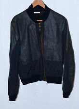 PAUL SMITH MAINLINE black leather panel colorblock nylon bomber M ITALY