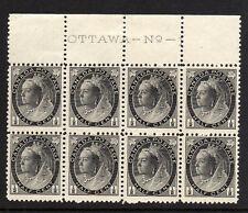 CANADA 1897-98 ½c GREY-BLACK IN IMPRINT BLOCK OF EIGHT SG 141 MNH.