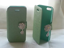 Diamond flip leather cover case for iphone 5 / Light Green