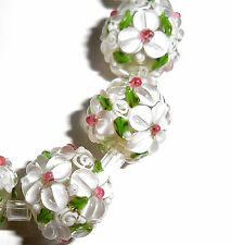 Lampwork Glass Flower Beads Raised Petals White 15 mm Round 4 Beads (#a33w)