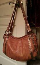 MARCO BUGGIANI ITALY Tan Textured Leather Handbag