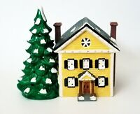 1988 Yuletide Lighted Christmas Village House with Ceramic Tree