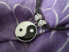Pendant -Ying Yang symbol with Tibetan beads on black necklace JoMacDesigns