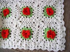 FLOWER GRANNY Handmade Crochet Afghan Blanket throw Vintage Ex Condition! ROSE