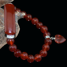 8mm Natural Carnelian Bracelet w/Curved Columnar Bead and Heart Pendant 7.8""