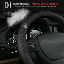 38CM CAR STEERING WHEEL COVER PROTECTOR UNIVERSAL BLACK PERFORATED PU LEATHER