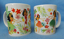 ISLAND HULA HONEYS TROPICAL HAWAIIAN TIKI  BEACH GIRLS COFFEE TEA MUG SET OF 2