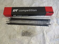 SALE 292 DT SWISS 14-15 mm STRAIGHT PULL 22 SPOKES and NIPPLES BLACK STAINLESS