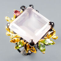 Handmade23ct+ Natural Rose Quartz 925 Sterling Silver Ring Size 7.75/R125446
