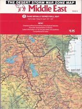 "The DESERT STORM War Zone Map Middle East 34"" x 52"" Rand McNally 1990 Vtg E334"
