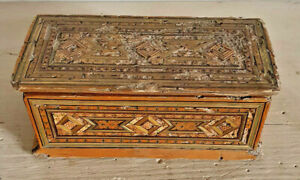 Antico cofanetto scatola n legno in stile mosaico del XVI secolo