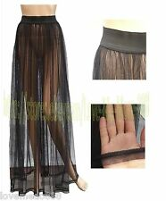 Club Party Sun Beach Mesh See Through Long Maxi Skirt Dress BLACK One size S,M,L