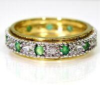 Emerald & Diamond Full Eternity 9ct Yellow Gold Ring size J ~ 4 3/4