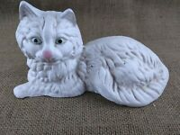 Vintage CAST IRON Long-Haired White Persian Cat