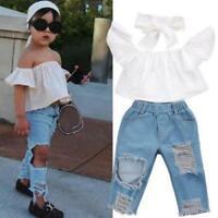 Baby Girls Blouse Crop Tops + Hole Denim Pant Jean Headband Toddler Kids Clothes