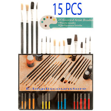 15 pc PAINT Brush Set All Purpose Oil Watercolor Acrylic ART CRAFT ARTIST Easter