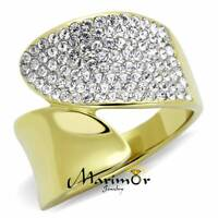 STAINLESS STEEL 316L TWO TONED ION PLATED CRYSTAL COCKTAIL RING SIZES WOMEN 5-10