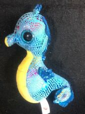 """Ty Beanie Boos Neptune 6"""" Blue Rainbow Shimmer Seahorse Great Condition!"""