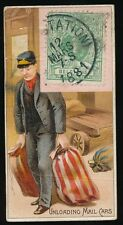 """1889 N85 Duke's Cigarettes POSTAGE STAMPS (""""Foreign"""") -Unloading Mail Cars"""