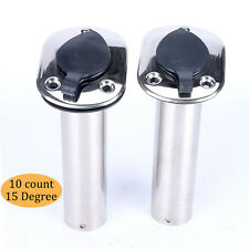 10PCS Flush Mount Stainless Steel 15 Degree Fishing Rod Holders Fast Delivery