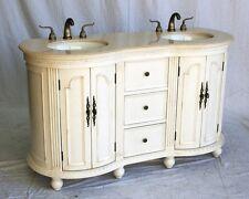 "60"" Antique White Double Sink Bathroom Vanity w/ Ivory Cream Beige Marble Top"