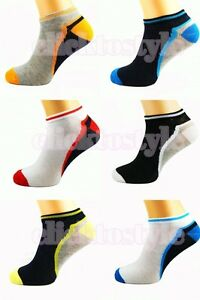 6 PAIR MENS ASSORTED BREATHABLE QUALITY TRAINER LINER ANKLE SOCKS UK SIZE 6-11