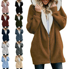 Women Long Sleeves Teddy Bear Hoodie Coat Ladies Casual Warm Fleece Sweatshirt