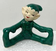 Vintage Green Boy Elf Gnome Figurine Green Hat