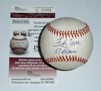 BRAVES Frank Torre signed baseball w/ 57 Braves JSA COA AUTO Autographed 1957