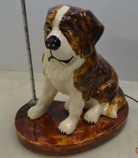 Saint St Bernard Sitting Dog Accent Figure Table Lamp Rare Stunning Antique