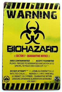Warning Bio Hazard Metal Tin Wall Sign Childrens Wall Door Plaque 30 x 20 cm