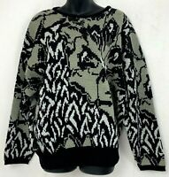 Vintage Womens Sweater Abstract Art Wool Blend Black Beige White Knit Italy L