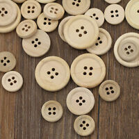 DIY 100PCs Wooden Buttons Natural Color Round 4-hole Sewing Scrapbooking