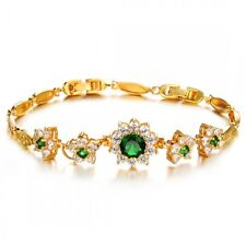18K GOLD PLATED GENUINE EMERALD GREEN/CLEAR CUBIC ZIRCONIA TENNIS BRACELET