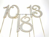 Diamante Rhinestone Cake Pick Topper Gold Number Birthday Anniversary UK
