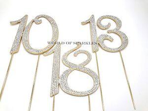 Diamante Rhinestone Cake Pick Topper Gold Number Birthday Anniversary UK