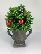 "Raz Imports 8.5"" Boxwood Mini Topiary w/ Red Bulbs, Christmas Decoration"