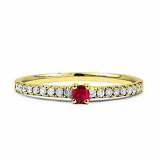 Solitaire with Accents Round Ruby Fine Rings