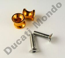 Billet paddock stand spools hook bobbin gold for Ducati 749 999 M8 8mm