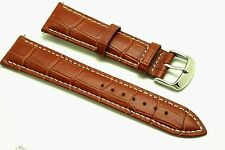 21mm Brown Leather Watch Band Alligator Polishing Buckle Made For Citizen 21