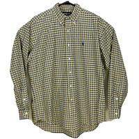 Polo Ralph Lauren Long Sleeve Oxford Shirt Plaid Relaxed Mens Sz M Yellow Blue