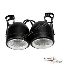 Twin Round Dominator Motorcycle Headlights Streetfighter Headlamp With Bracket